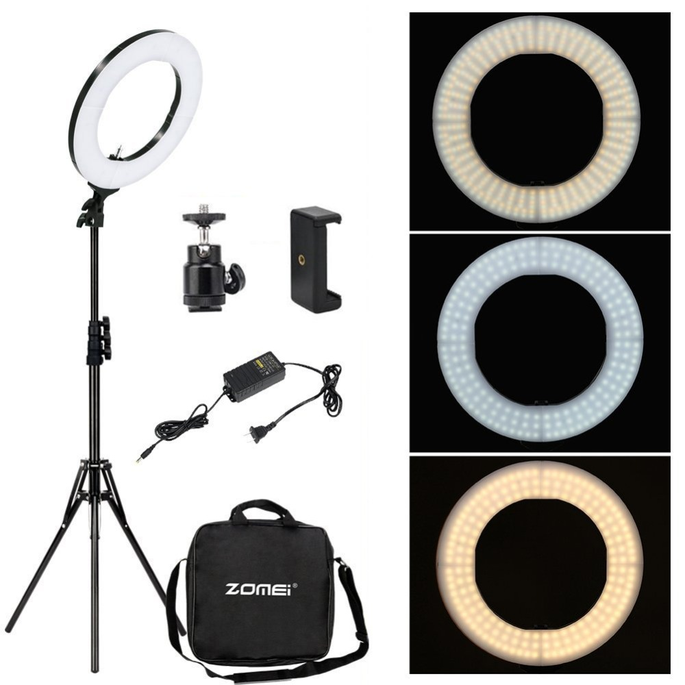 Zomei Dimmable Photography Photographic Studio Ring Light 3200-5600K LED Lighting Phone Adapter Makeup For Live Broadcast Video gvm dimmable 520 led video light 3200 5600k cri97 tlci97 professional led studio light for interview photography video light