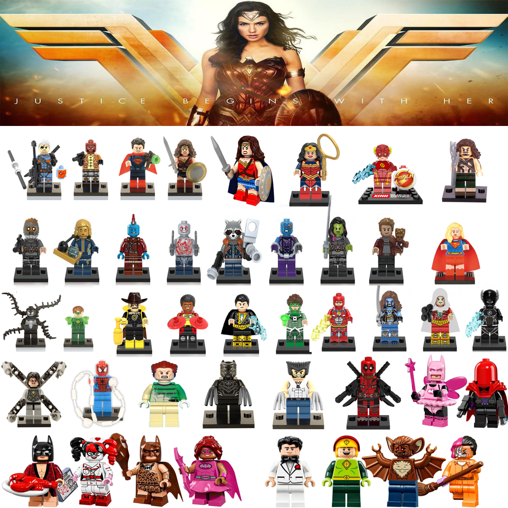 Super Heroes Single Sale Wonder Woman Guardians of the Galaxy Batman X man flash Marvel DC Avengers Building Blocks Toys Figures набор для росписи по холсту креатто такса от 3 лет 30170