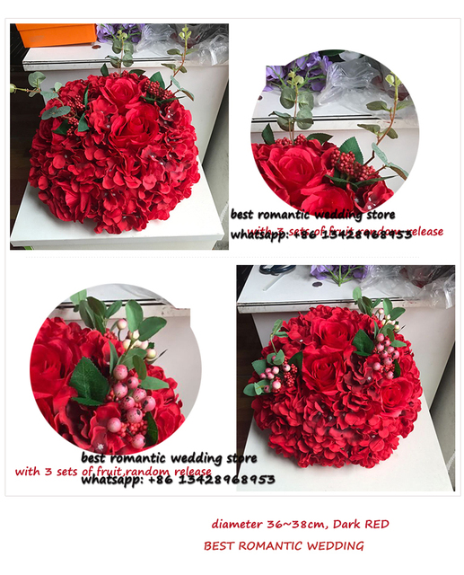 big flower ball red rose and hydrangea flower table centerpiece ...