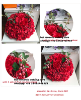 big flower ball red rose and hydrangea flower table centerpiece balls for wedding decoration
