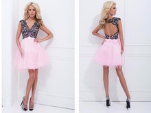 party gown free shipping 2015 new v-neck pink tulle hot sexy backless a-line lace vestidos de festa short pink prom Dresses женское платье brand new vestido de renda free shipping vestidos 2015 v y205 new in 2015 vestidos de festa cheap clothing in china
