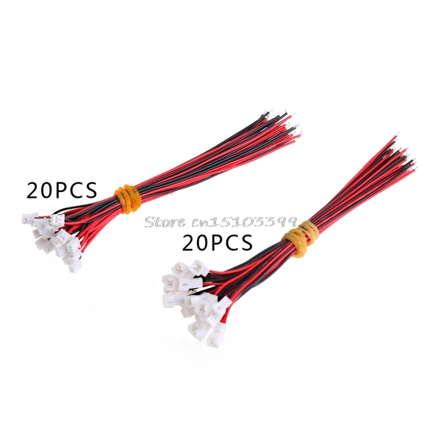 20Pair Micro JST PH 1.25 2 PIN Male Female Plug Connector With Wire Cables 100mm G08 Drop ship