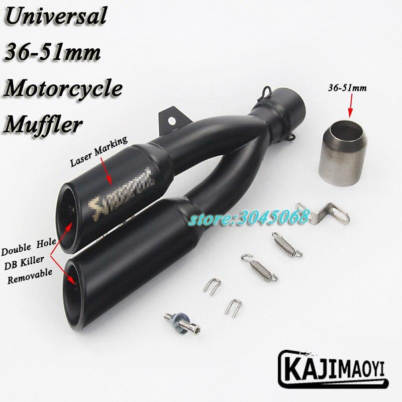 Marcatura Laser Moto di Scarico Modificato Silenziatore Con Rimovibile Doppi Fori DB Killer Per CB400 CBF190R Z250 Ninja300 Z750 R3