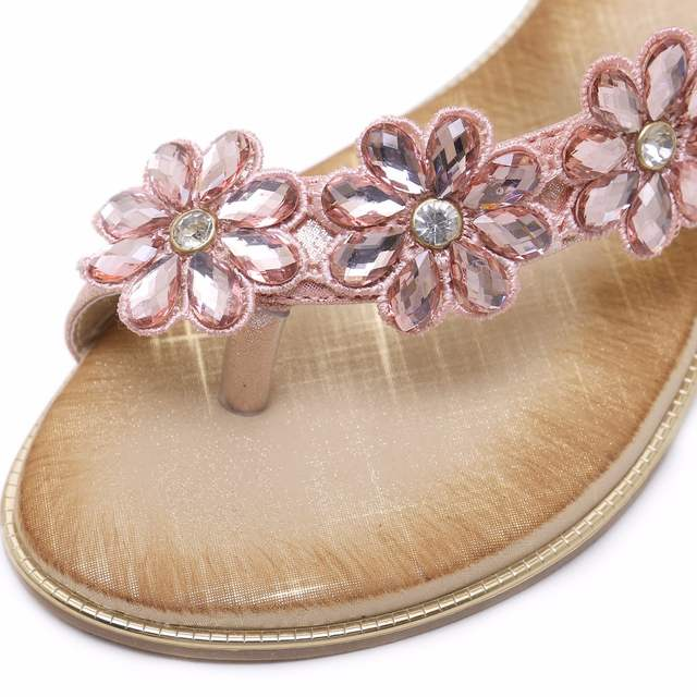 SIKETU Women Wedding Bridal Bridesmaid Shoes Flip Flop Ring Toe Bohemian  Sandals Floral Rhinestone Crystal Silngback 5c274d3354e6