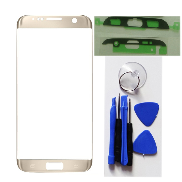 White blue gold Front Screen LCD Glass Lens Outer Glass Repair Replacement For Samsung S7 Edge G935 SM-G935F+Tools+Sticker