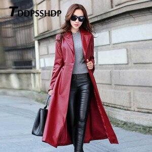 Image 5 - Chaqueta de cuero gruesa de manga larga para mujer, chaqueta femenina con bolsillos y correa en la cintura, Color negro y rojo
