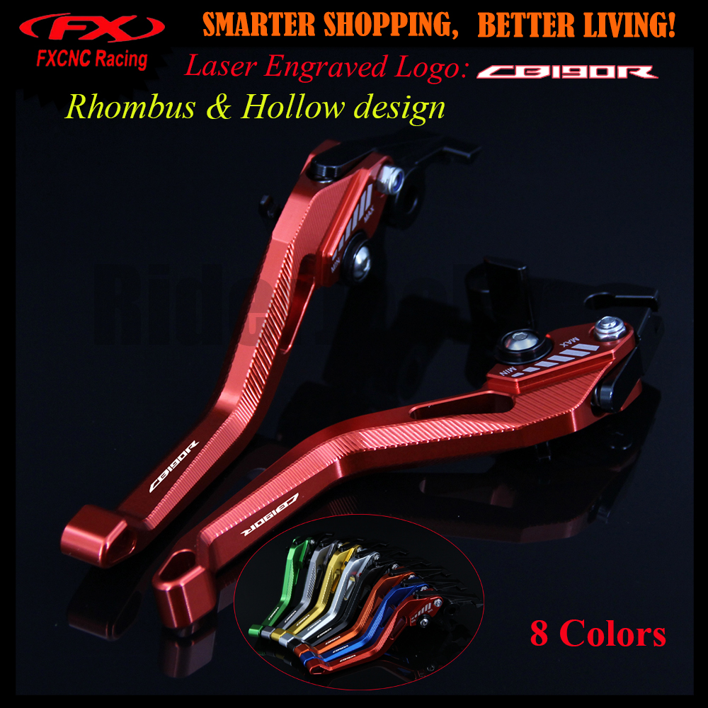 New Logo 3D design (Rhombus Hollow) Red CNC Motorcycle Adjustable Brake Clutch Lever For Honda CB190R CB 190R 2015-2017 2016 riggs r hollow city