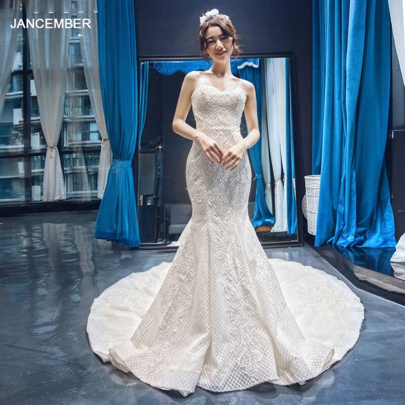 J66660 Jancember Mermaid Wedding Dress Like White Strapless Sweetheart Appliques Lace Bridal Gowns Robe De Mariee Sirene Bustier