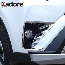 For Toyota RAV 4 RAV4 2016 2017 ABS Chrome Front Fog Light Cover Trim Foglamp Frame Cover Stickers Decoration Car Styling 2pcs