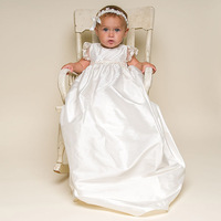 Cute Infant Girls Baptism Gown Baby Girls Satin Christening Dress For 0 24 Month Little Babies White Ivory Dress With Headband