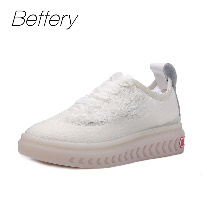 Beffery 2018 New Spring Women Lace Transparent Shoes Lace-up Sneakers Fashion Casual Shoes Women Sneakers Flat Platform Shoes beffery 2018 british style patent leather flat shoes fashion thick bottom platform shoes for women lace up casual shoes a18a309