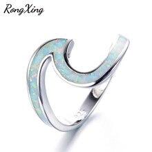 RongXing 925 Sterling Silver Filled White Fire Opal Wave Rings mujeres hombres joyería de moda Vintage boda Anillos De Compromiso RS0200