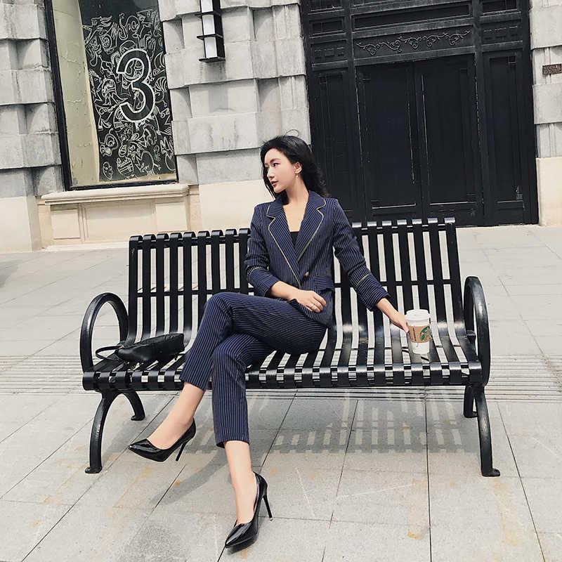 BGTEEVER Moda Azul Escuro Listrado Pant Ternos para Mulheres Com Decote Em V Blazer Jacket & Calças Lápis 2 peças Conjunto de Trabalho de Negócios terno 2018