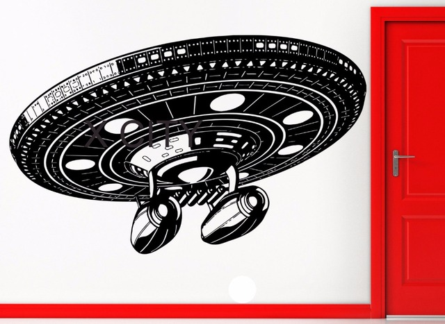 ufo flying saucer space alliens spaceship battleshipwall art decal sticker die vinyl cut transfer stencil mural