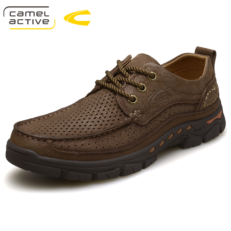 Camel Active Mens Casual Shoes 100% Genuine Leather Shoes High Quality Comfort Outdoor Man Footwear Nonslip Rubber Size 38-44