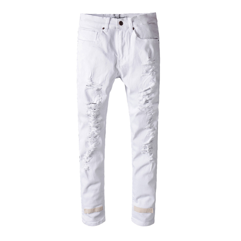 Hi-Q White Ripped Jeans Men With Holes Super Skinny Famous Designer Brand Slim Fit Destroyed Jeans Pencil pants Slim Jeans hot 2017 blue ripped jeans men with holes cowboy super skinny famous designer brand slim fit destroyed torn jean pants for male