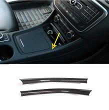 2pcs Carbon Fiber Chrome Center Console Decoration Strips Trim For Mercedes Benz A/GLA/CLA Class 200 220 260 W176 A180