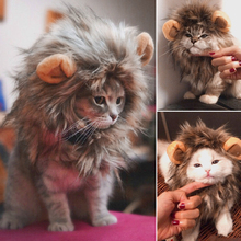 Забавный милый костюм для питомца кота, Львиная Грива, парик, шапка для кошки, собаки, Хэллоуин, Рождественская одежда, нарядное платье с ушами, Одежда для питомцев