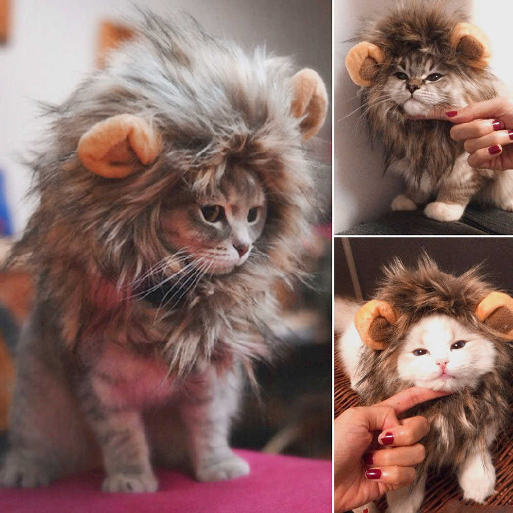 Funny Cute Pet Cat Costume Lion Mane Wig Cap Hat for Cat Dog Halloween Christmas Clothes Fancy Dress with Ears Pet Clothes