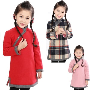 Image 1 - 중국 아기 소녀 드레스 두꺼운 누비 이불 소녀 재킷 치 파오 드레스 어린이 Cheongsam 코트 복장 Qipao Outwear 블라우스 탑스