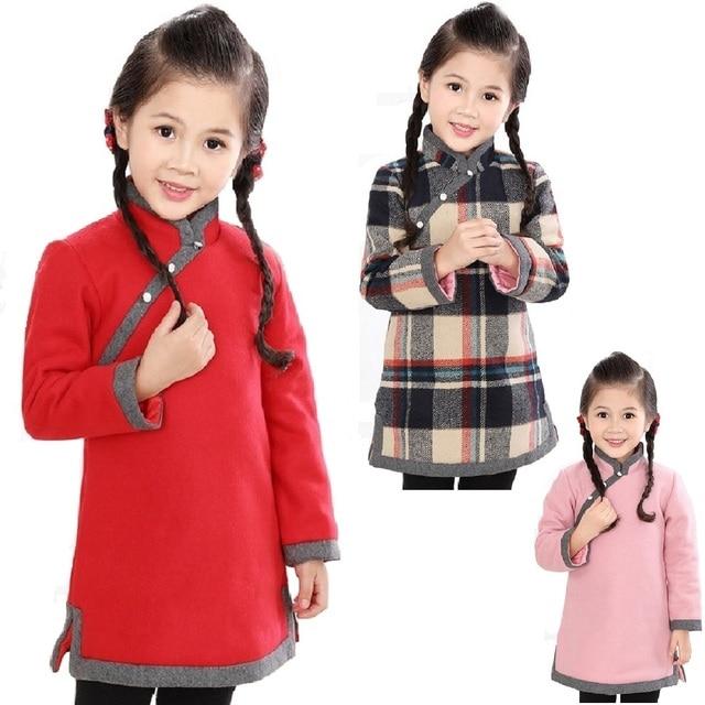 중국 아기 소녀 드레스 두꺼운 누비 이불 소녀 재킷 치 파오 드레스 어린이 Cheongsam 코트 복장 Qipao Outwear 블라우스 탑스