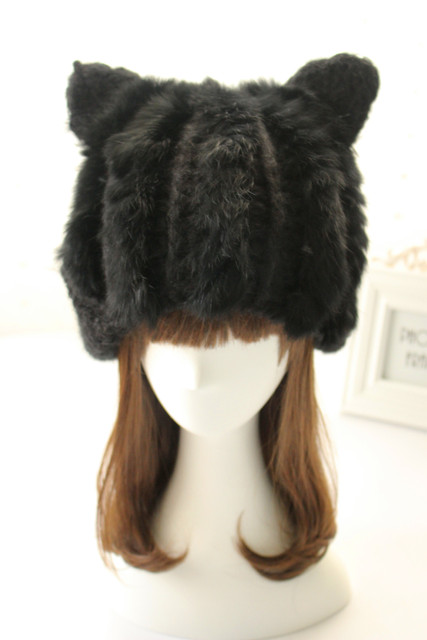 factory direct sale lovely cute panda cat ears protection bomber hat knitted real rabbit fur handmade high quality hats winter