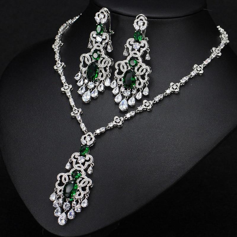 ANGELCZ romantique rouge CZ couleur argent grande goutte boucles d'oreilles et collier pour les femmes éblouissant cristal de noël fête bijoux ensemble AJ066 - 2