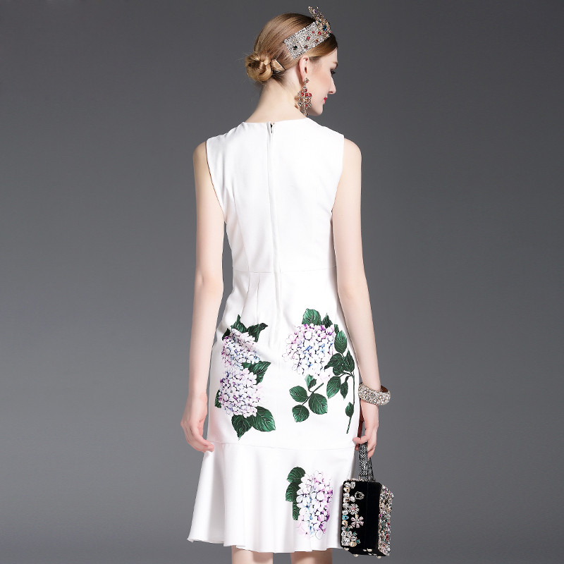 High Quality 2017 Designer Runway Summer Dress Women's elegant Mermaid Sleeveless Whiter Floral Printed Appliques Casual Dress-in Dresses from Women's Clothing    2