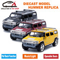 18CM Length 1:24 Diecast Humvee, Miniature Hummer Model Car, Kids Gift Toys With Pull Back Function/Music/Light/Openable Doors