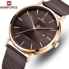 Męskie zegarki NAVIFORCE moda zegarek kwarcowy mężczyźni wodoodporna sport zegarki na rękę proste data mężczyzna zegar analogowy Relogio Masculino
