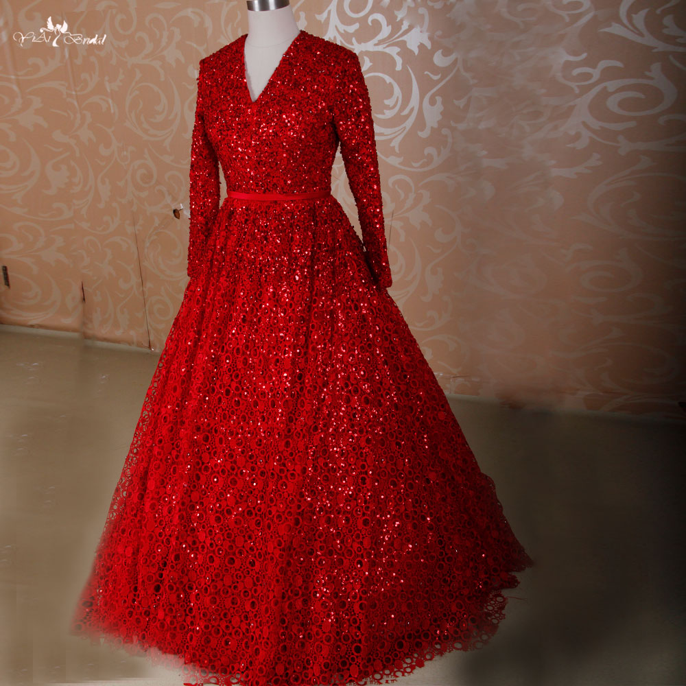 Long Sleeve Lace Wedding Dresses Ball Gown Backless: RSW461 Red Ball Gown Detachable Skirt Backless Long Sleeve