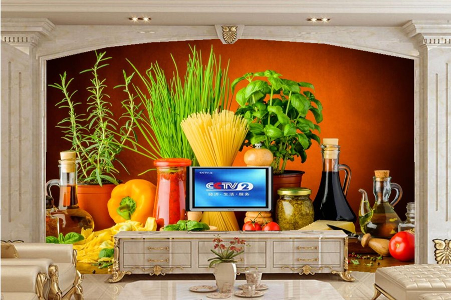 Still-life Spices Tomatoes Pepper Food wallpaper,restaurant living room sofa TV wall bedroom 3d wallpaper mural papel de parede