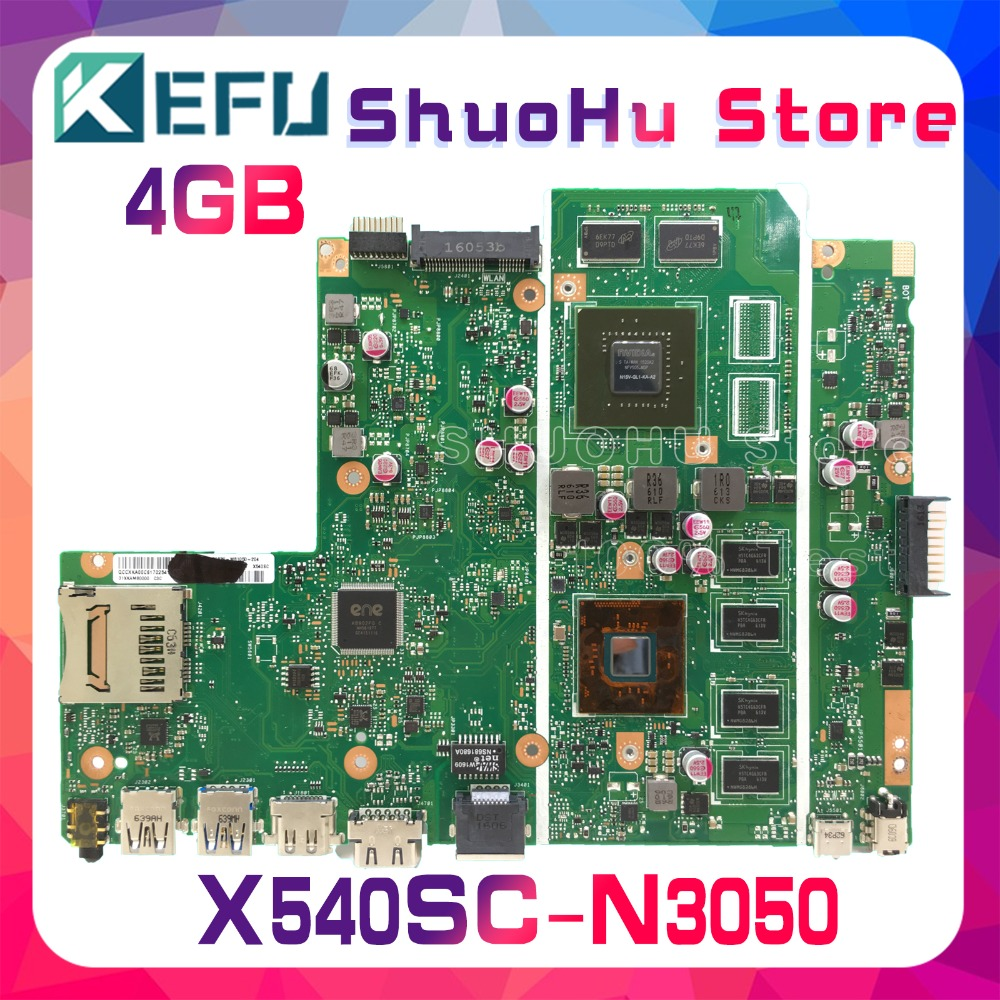 KEFU X540SC Mainboard For ASUS X540SC X540SCA F540SC Laptop Motherboard Tested CPU/N3050 4GB/Memory100% Work Original
