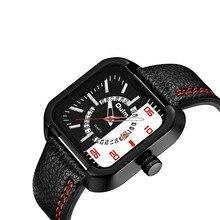2018 OULM Horloge Heren Origineel Uniek Ontwerp Vierkant met Datum Klok Casual zakelijk lederen band quartz horloge Mannelijke sport horloges