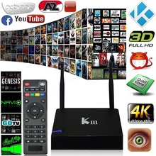 KIII Android Quad-Core S905 UHD 4 K 3D Amlogic Caja de la TV set-top KODI casa Inteligente Receptor de TV box WiFi DLNA Airplay IPTV Media jugador