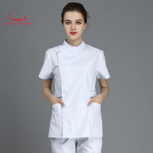Nurses wear separate suits with short sleeves. Women wear white coats with standing collar and short sleeves