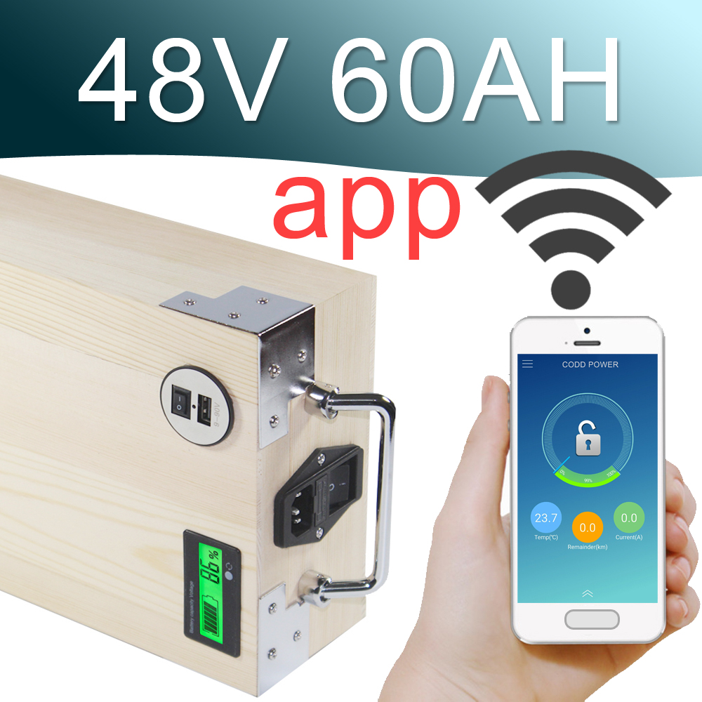 48V 60AH APP Lithium ion Electric bike Battery Phone control USB 2.0 Port Electric bicycle Scooter ebike Power 3000W Wood conhismotor electric bike lithium battery hallomotor ebike metal case h22p 24v 17 6ah seat tube li ion polymer battery pack
