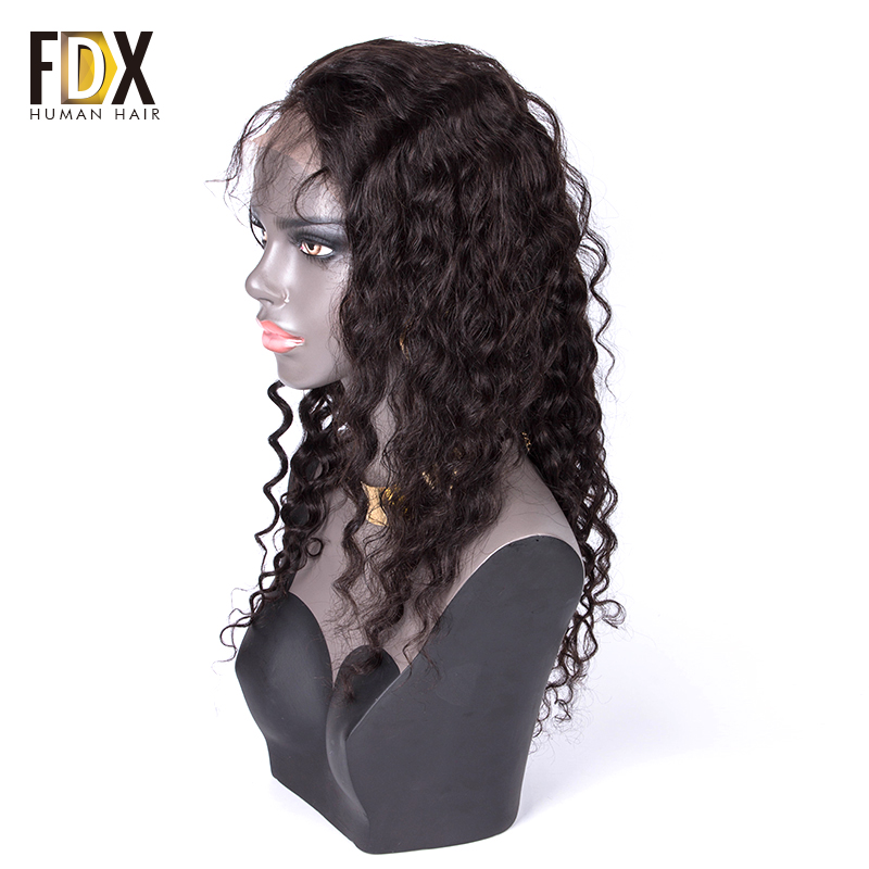 FDX Deep Wave Lace front Wigs 13x4 Natural Color 130 density Brazilian Remy 100 Human Hair