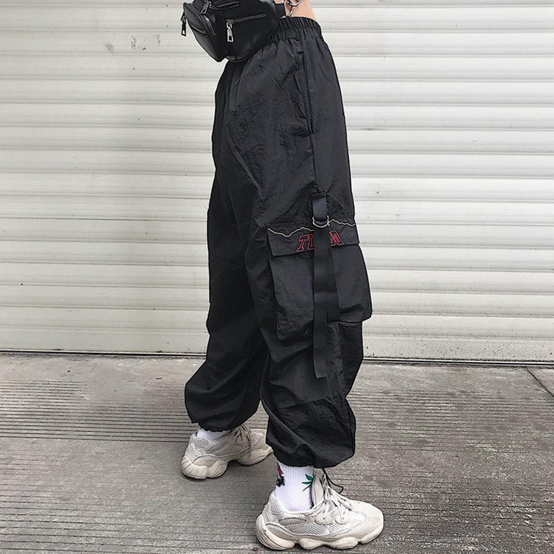 Casual Style Ulzzang Women's Clothing Loose Harajuku Style Ankle-length Pants Unisex Pockets Cargo Pants Casual Hip Hop New
