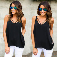 Summer 2017 Women Sexy Vest Lace V Neck Sleeveless Blouse Casual Tank Tops T Shirt Size