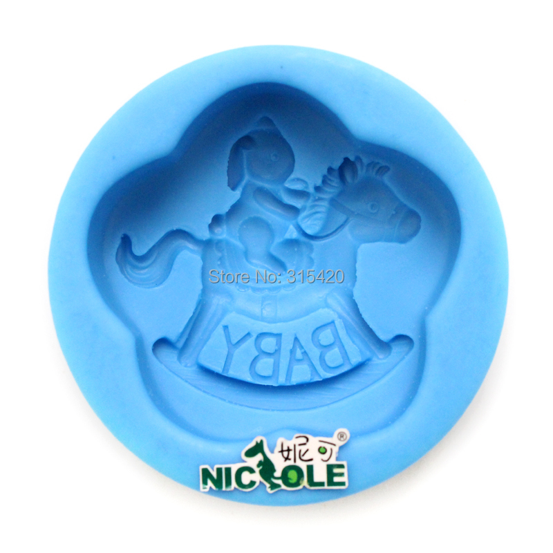 Nicole R1249 3D little girl is riding a horse silicone soap mold silica gel soap molds