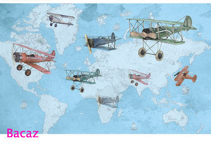 Us 18 0 Bacaz Cartoon World Map Airplane Wallpaper Mural 3d Wall Photo Mural For Kids Room Sofa Background 3d Wall Paper Mural Decor In Wallpapers