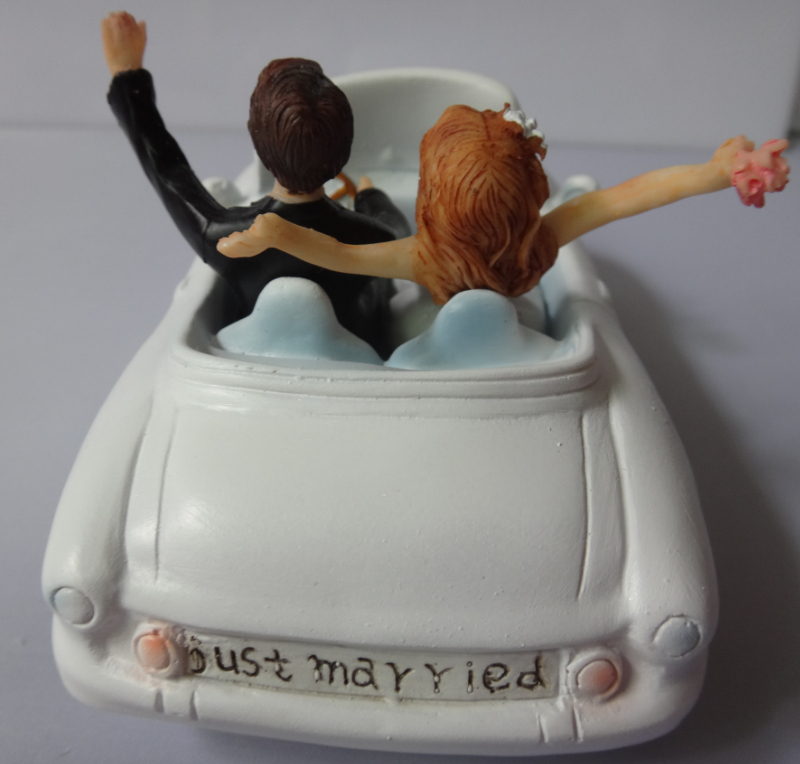 Free Shipping Honeymoon Bound Wedding Car Cake Topper Happy Couple In Festooned Vehicle Figurines Festive Party Supplies From Home Garden