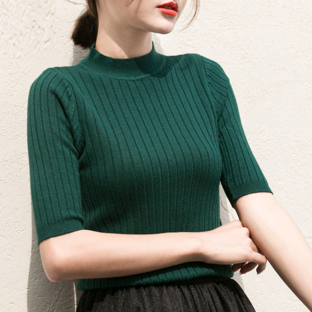 NIJIUDING 2017 New knitted Slim Pullover Women Turtleneck Knitted Sweater Shirt Female All-match Basic Half Sleeve Tops Clothing