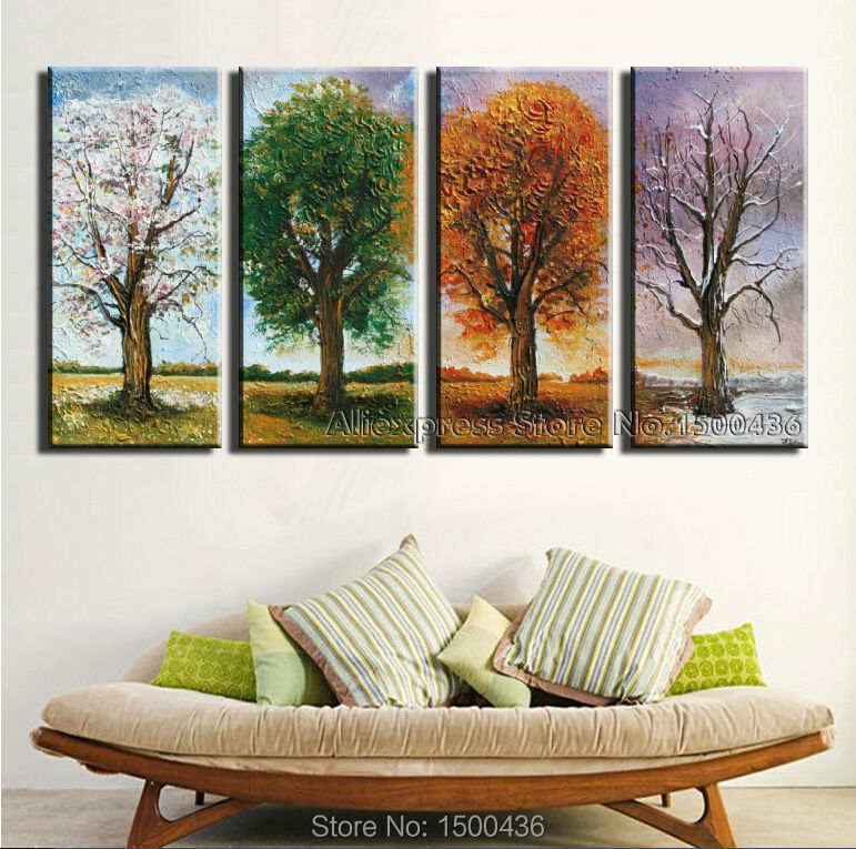 Hand painted 4 season tree oil painting canvas set 4 piece for 4 seasons decoration