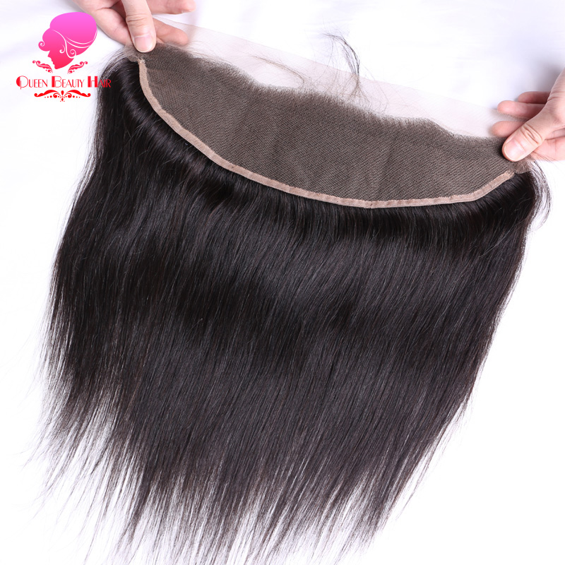 QUEEN BEAUTY HAIR Brazilian Remy Hair Straight Lace Frontal Closure 13X4 with Baby Hair Free Part