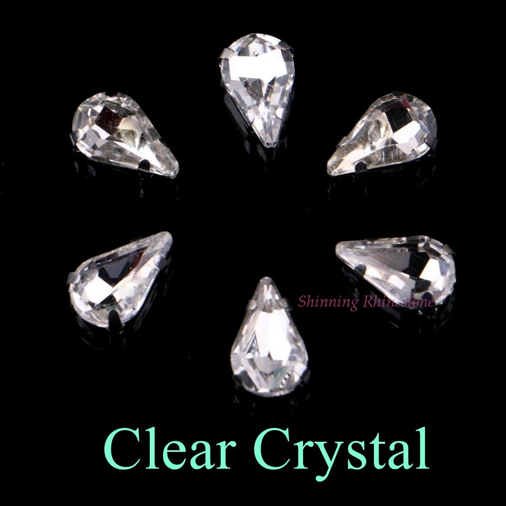 Узкий Каплевидная форма стеклянные стразы с когтями пришить с украшением в виде кристаллов Камень страз с алмазными металлическими Базовая Пряжка 20 шт./упак - Цвет: Clear Crystal