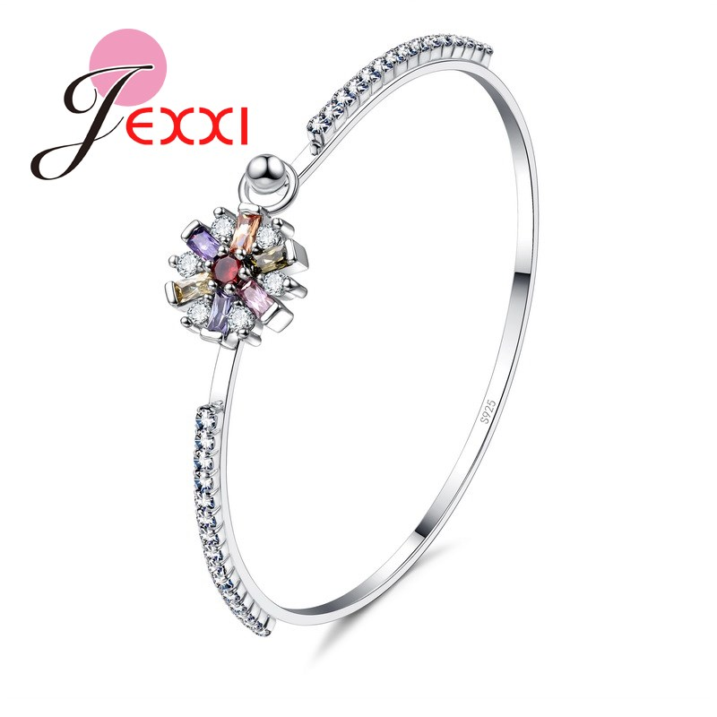 Gorgeous Trendy Gift For Lover Sister Romintic Bracelets 925 Sterling Silver Flower Shape Colorful Cubic Zirconia Popular