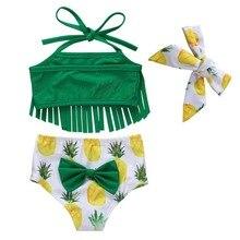 3 шт./компл. летнее платье-комбинезон для маленьких лямки для купальников с фруктовым принтом; топы с бантами+ трусики+ повязка на голову, детский купальный костюм для девочек, купальный костюм