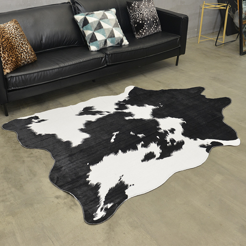 Soft Artificial Fur Carpet Black White Cow Printed Rugs And Carpets